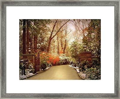 Winter Greets Autumn Framed Print by Jessica Jenney