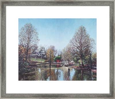 Framed Print featuring the painting Winter Hilliers Garden Hampshire by Martin Davey