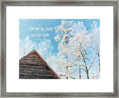 Old Church Winter - Verse  Framed Print