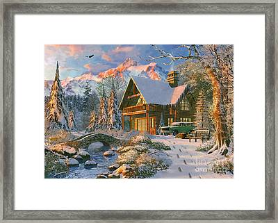 Winter Holiday Cabin Framed Print by Dominic Davison