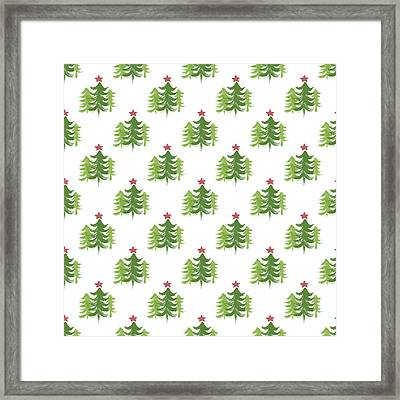 Winter Holiday Trees 2- Art By Linda Woods Framed Print by Linda Woods