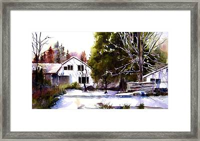 Framed Print featuring the painting Winter Homestead by Marti Green