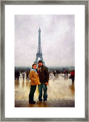 Winter Honeymoon In Paris Framed Print by Jeff Kolker