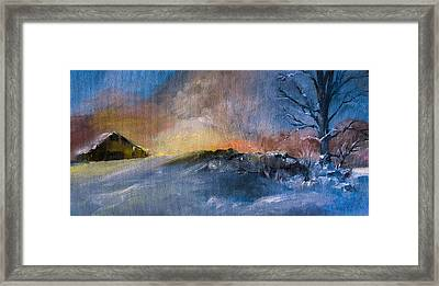 Winter Horse Barn Snowy Landscape Framed Print