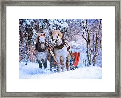 Winter Horses Framed Print by Georgiana Romanovna