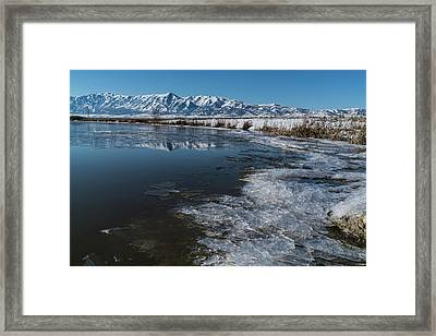 Winter Ice Flows Framed Print by Justin Johnson