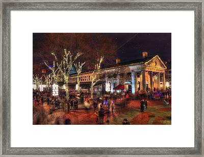 Winter In Boston - Quincy Market Framed Print by Joann Vitali