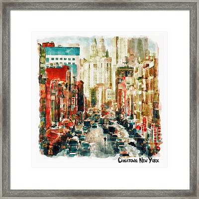 Winter In Chinatown - New York Framed Print by Marian Voicu