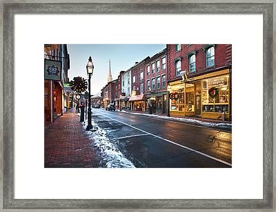 Winter In Downtown Portsmouth Framed Print