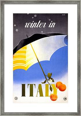 Winter In Italy Vintage Travel Poster Restored Framed Print