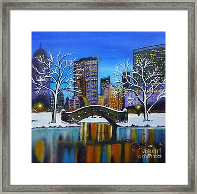 Winter In New York- Night Landscape Framed Print
