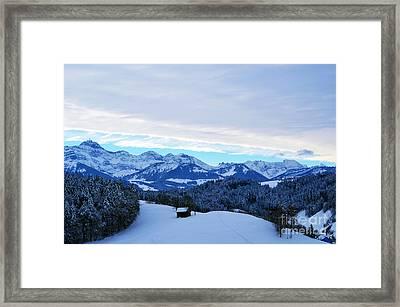 Winter In Switzerland - The Santis Mountain Framed Print
