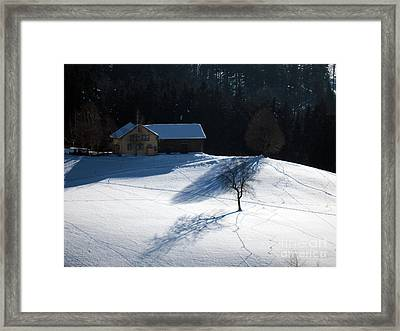 Winter In Switzerland - Tracks In The Snow Framed Print