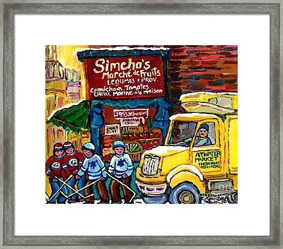 Winter In The City Montreal Memories Jewish Landmark Simcha's Fruit Store Canadian Hockey Art  Framed Print by Carole Spandau
