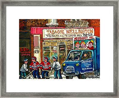 Winter In The City Tabagie Wellington Joblo Verdun Montreal Hockey Art Kellogg's Truck Canadian Art  Framed Print by Carole Spandau