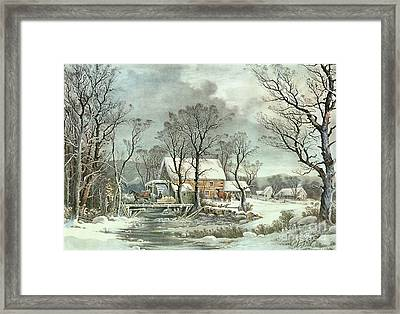 Winter In The Country - The Old Grist Mill Framed Print by Currier and Ives