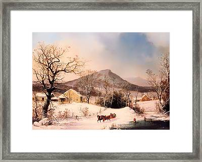 Winter In The Country - Distant Hills Framed Print