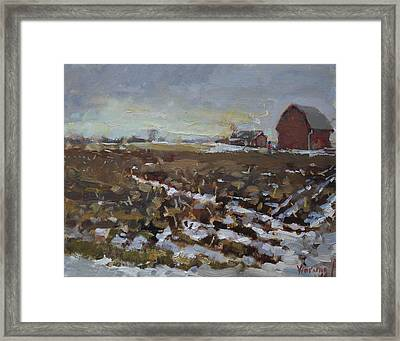 Winter In The Farm Framed Print by Ylli Haruni