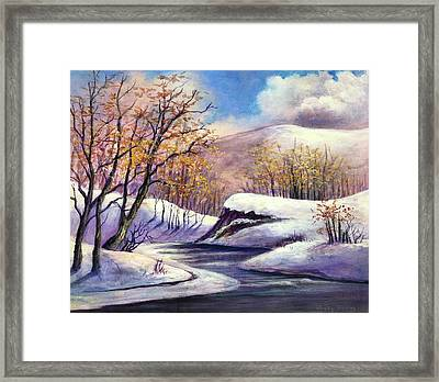 Framed Print featuring the painting Winter In The Garden Of Eden by Randol Burns