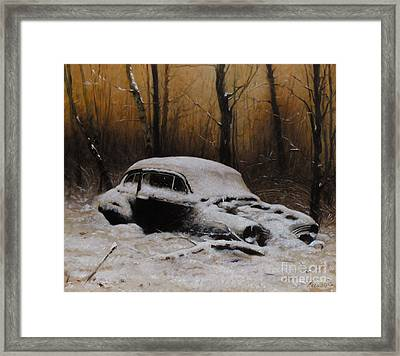 Winter In The Wood Framed Print by Larry Preston