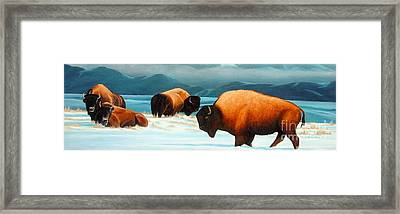 Winter In Yellowstone Valley Framed Print by Kevin Ballew