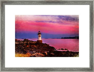 Winter Island Lighthouse At Christmas Framed Print by Jeff Folger