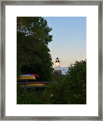 Fort Pickering Lighthouse Through The Trees Framed Print by Toby McGuire