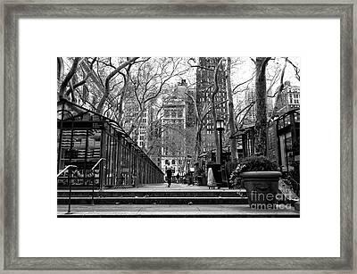 Winter Jog In The Park Framed Print by John Rizzuto