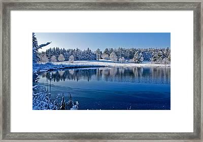 Winter Lake Scene 2 Framed Print by Edward Myers