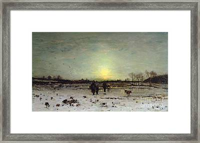 Winter Landscape At Sunset Framed Print by Ludwig Munthe