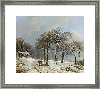 Winter Landscape Framed Print by Barend Cornelis Koekkoek