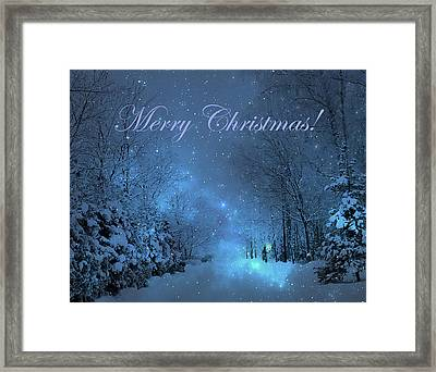 Winter Landscape Blue Christmas Card Framed Print