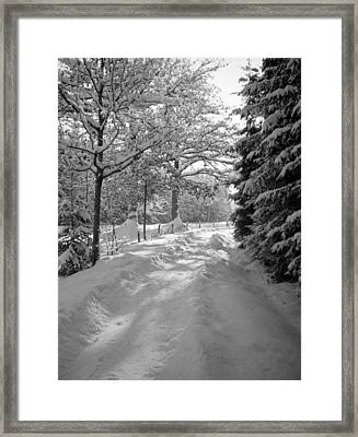 Winter Landscape  Christmas Card Framed Print by German School