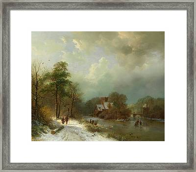 Framed Print featuring the painting Winter Landscape - Holland by Barend Koekkoek