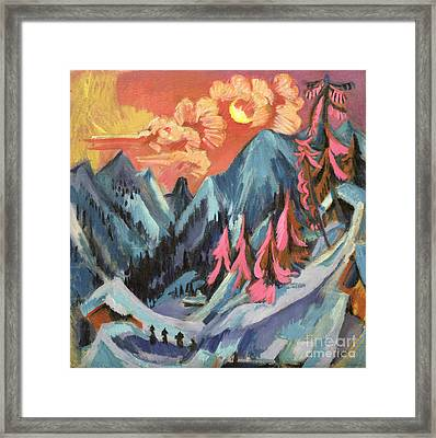 Winter Landscape In Moonlight Framed Print