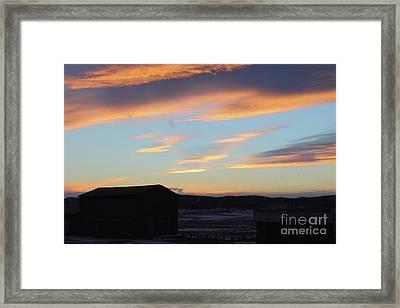 Winter Landscape In Sunset. Framed Print by Mariia Kilina