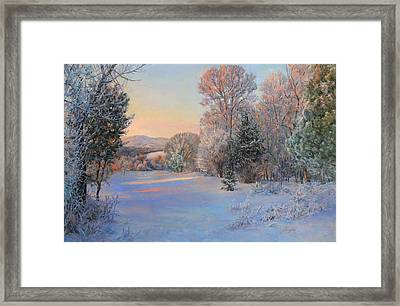 Winter Landscape In The Morning Framed Print