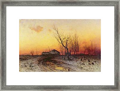 Winter Landscape Framed Print by Julius Sergius Klever