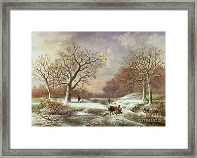 Winter Landscape Framed Print by Louis Verboeckhoven