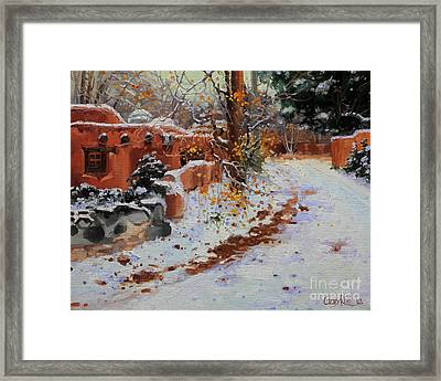 Winter Landscape Of Santa Fe Framed Print by Gary Kim