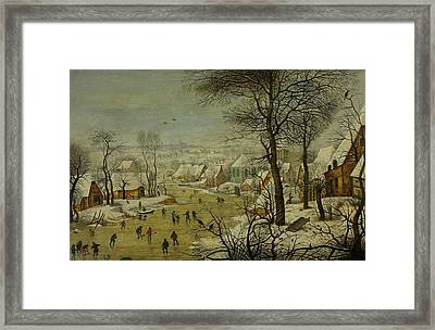 Winter Landscape With A Bird Trap Framed Print