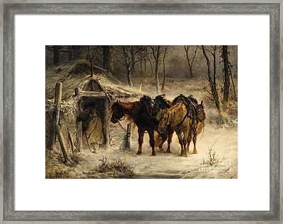 Winter Landscape With A Huntsman And Horses Framed Print