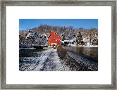 Winter Landscape With A Red Mill Clinton New Jersey Framed Print by George Oze