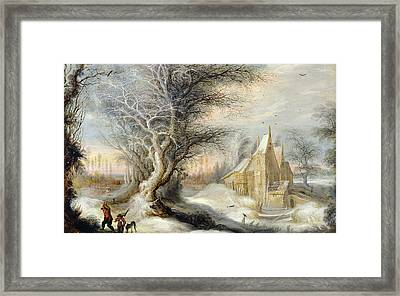 Winter Landscape With A Woodcutter Framed Print