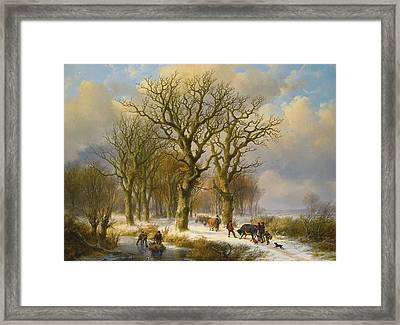 Winter Landscape With Cattle  Drivers Framed Print by MotionAge Designs