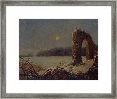 Winter Landscape With Ruined Arch Framed Print by Celestial Images