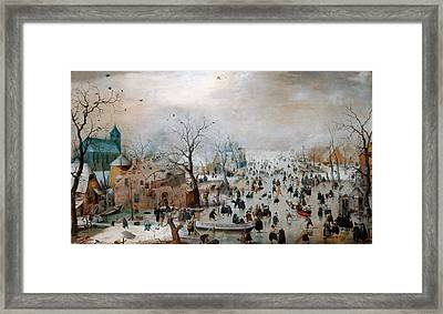 Winter Landscape With Skaters Framed Print by Celestial Images