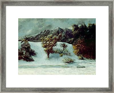 Winter Landscape With The Dents Du Midi Framed Print by Gustave Courbet