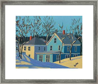 Winter Linden Street Framed Print by Laurie Breton