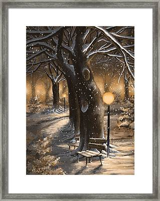 Framed Print featuring the painting Winter Magic by Veronica Minozzi
